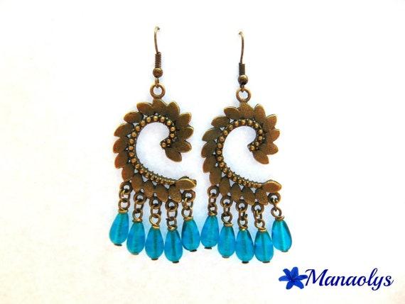 Earrings bronzes vintage leaves, blue glass beads