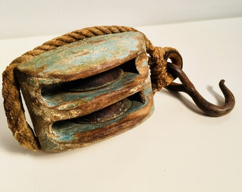 Timber and Steel Block Pulley with Hemp Rope and Painted Patina - American 1940's