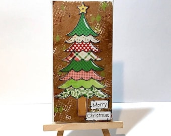 FIVE YEAR SALE Scalloped Christmas Tree , Print & Easel Set, Christmas Tree Print