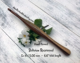 Hand-turned Bolivian Rosewood Ergonomic Crochet Hook  Sz H / 5.00 mm