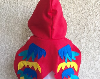 Parrot Cape, Kids Halloween Parrot Costume, Red Parrot Wings