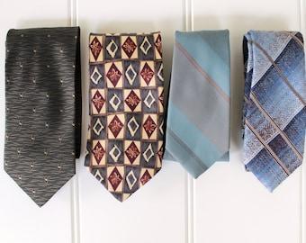 Vintage Neck Ties - Greens - Blue - Gray - Wembley - Reed - Barrington - Puritan - Vintage Tie Sale