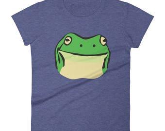 Stickyfrogs Heather Blue Gumby Frog Ladies T-shirt