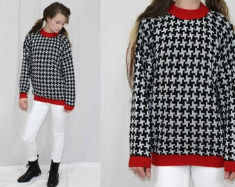 Vintage 80s Adele Black White Houndstooth Check Retro Acrylic Sweater Jumper S M