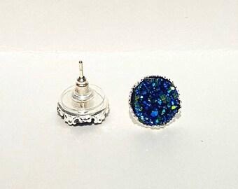 Blue Green Druzy Earrings, Blue Earrings, Crystal Earrings, Faux Druzy Earrings, Blue Gemstone Earrings, Druzy Stud