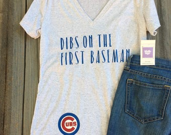 ANTHoNY RIZZO Chicago Cubs BASEBaLL Women's Anthony Rizzo Racerback Tank, Crew, or V-neck-Dibs on the FIRST Baseman-MLB-with logo