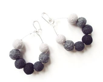 Felted Earrings Felt Earrings Grey Black felt Wool Earrings Felted Balls Winter Hand felted earrings Gift