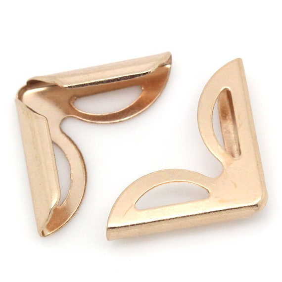 Set of 8 corners / angle - rose gold color - size: 16 mm