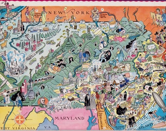 30's Vintage PENNSYLVANIA Picture Map of Pennsylvania State Cartoon Map Print Gallery Wall Art Gift for Map Collector Traveler Wedding