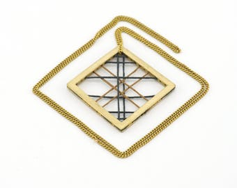 geometric embroidery thread woven square brass necklace