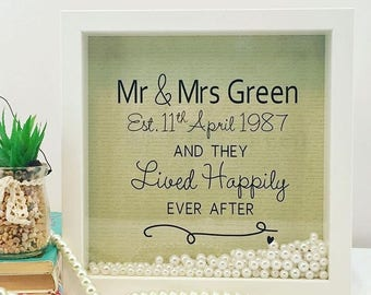 30th Pearl Wedding Anniversary Personalised Shadow 3D Frame
