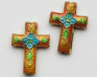 2 Large Handmade Cloisonne Cross Beads, Metal & Enamel 23x17mm  Quality Focal Beads Religious Roasry Jewellery Making
