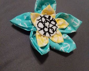 BLue/Yellow Flower clip