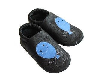 Leather Baby Booties, Baby Shoes, Balloon Infant Newborn Nursery Children Blue