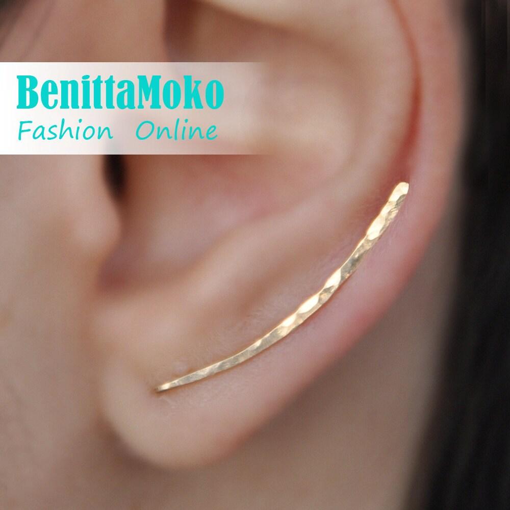 Ear Climbers Earrings x2 Ear Climber Gold Ear Pins Climber