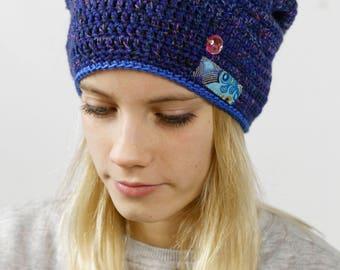 Hand crochet art design beanie
