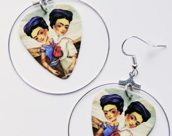 Frida Kahlo The Two Fridas silver hoop guitar pick earrings Mexican Dark Art