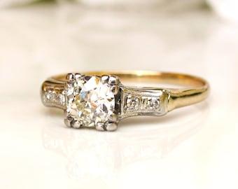Art Deco Engagement Ring 0.56ctw Old European Cut Diamond Wedding Ring 18K/14K Two Tone Gold Fishtail Prongs Antique Engagement Ring Sz 7.5