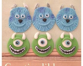 Monster Inc. inspired cupcake Fondant toppers