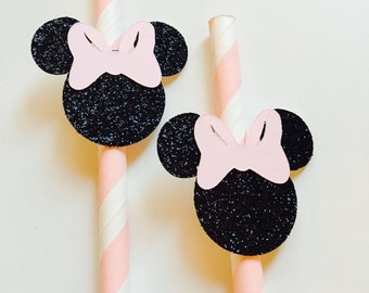 Minnie Mouse Paper Straws- Pink and White (Qty. 12)