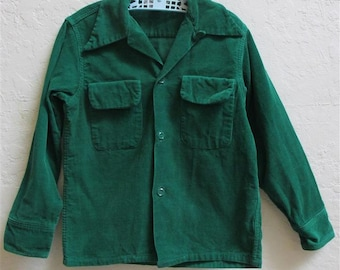 "On Sale! 1950's ""Penney's"" Boy's Green Corduroy Long Sleeve Shirt / Size: 8"