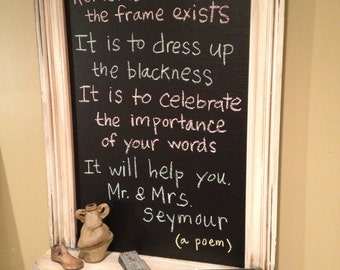 Chalkboard distressed Frame with Shelf Decorative Woodwork and Rosettes