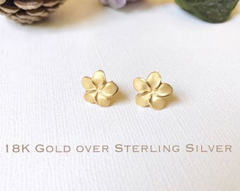 Sale! Gold over Sterling Silver, Plumeria stud earrings, Plumeria earring, Plumeria studs, Gold Plumeria, Rose Gold Plumeria, Flower earring