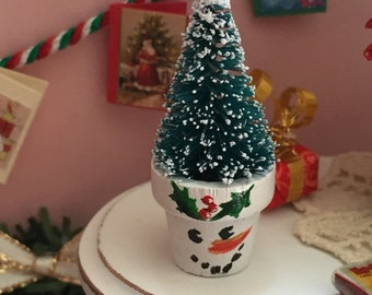 SALE Miniature Tree in Snowman Flower Pot, Dollhouse Miniature, 1:12 Scale, Holiday Decor, Miniature Home and Garden Decor, Dollhouse Tree