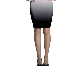 Pencil skirt midi degradé black and white