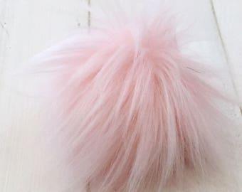 Blush - Faux Fur Pompom, pink faux fur, Plush Fur Pom Pom,luxe fur pom pom, cruelty free pom pom, fur pom poms, hat pompom, pink fur pompom