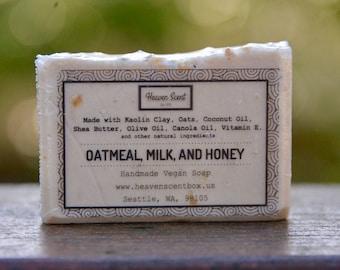 Oatmeal, Milk, and Honey Bar Soap - Handmade, Vegan, and Natural