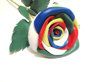 Leather rose,Black flower,Red Leather Rose,Wedding flower -3rd Anniversary Gift- Long Stem Flower