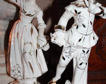 Figurines Colonial Gilded Man and Lady. Made in Japan.