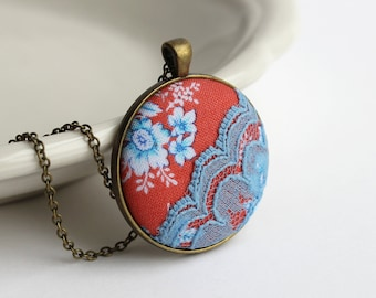 Coral Pendant With Floral Fabric, Coral and Turquoise Jewelry, Unique Bridesmaid Gift, Bright Orange and Blue Pendant, Round, Large Pendant