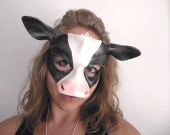 Cow Leather Mask - Cow Costume - Halloween Mask - Masquerade - Halloween Costume - Black and White Mask