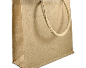 Jute Shopping Tote Bag Large DIY Unfinished Ready to Paint/Print/ Decorate