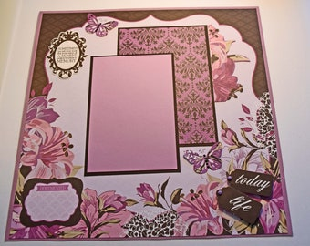 "Memory - 12"" x 12"" Premade Scrapbook Page - Value of a Moment"