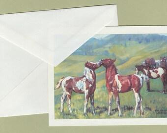 Greeting Card PINTO FOALS Horses Blank Arabian Note, Joder Arabian Ranch, Alice Kingham La Chevre