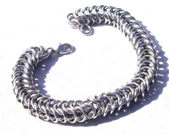 Chainmaille Jewellery, Box Chain Chainmail Bracelet, Shiny Aluminum Jump Rings