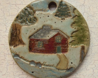 Large Glazed Pottery Pet Cremains Motif Pendant or Ornament - Custom Memorial Pet Cremation Keepsake -  CABIN in the WOODS