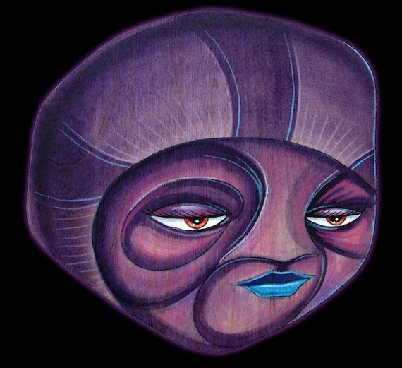 Plum Prophet - Original Mixed Media on Wood Cout Out