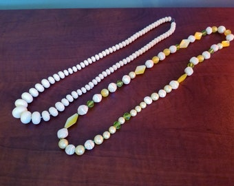 bead necklaces, two vintage, lovely pastels and white, jewelry, chic, dressy