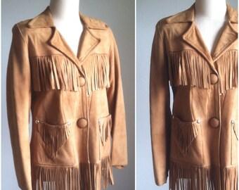 Vintage 1950s 1960s Western Chamois Fringe Jacket