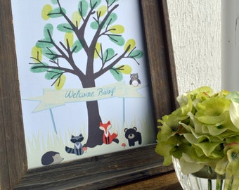 Forest Friends Thumb Print Tree - Green { DIY Printable Baby Shower Woodland Creatures Fox Bear Owl Hedgehog Raccoon Boy Girl }