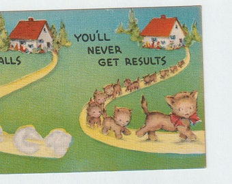 Cat Postcard - Linen Postcard - Metrocraft Postcard - Unused Postcard - Circa 1940 - Divided Address Postcard
