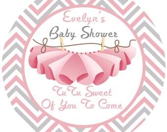 Baby Shower Tutu Personalized Favor Sticker - Baby Girl Baby Shower Label - Ballerina Personalize Baby Label