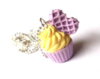 Lavender Cupcake Necklace (heart waffle polymer clay miniature food dessert food jewelry mini food necklace kawaii necklace yellow necklace)
