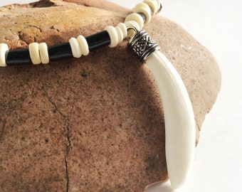 Boar Tusk on Bone Bead Necklace