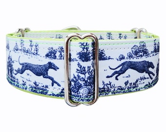 Jane Walker Sighthound Toile satin lined martingale dog collar. Greyhound collar, whippet collar, galgo collar.  Custom made to order.