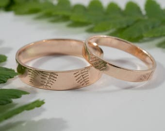 Rose Gold Fern Wedding Bands: A Set of his and hers 9k Rose Gold wedding rings